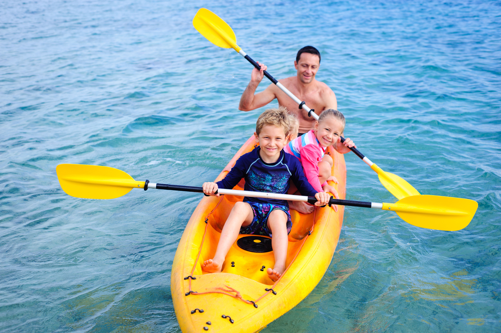Dad and Kids Kayaking